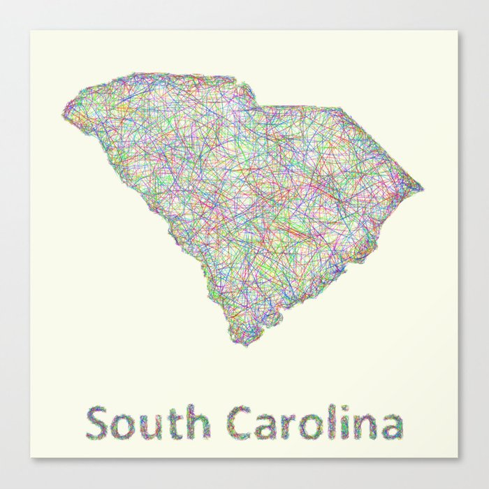 photo relating to Printable Map of South Carolina known as South Carolina map Canvas Print